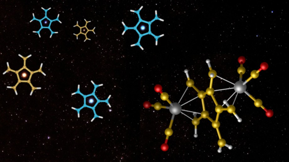 5-pronged radialene molecules ( top left) can be stabilised with metal compounds (lower right). Image M Sherburn.